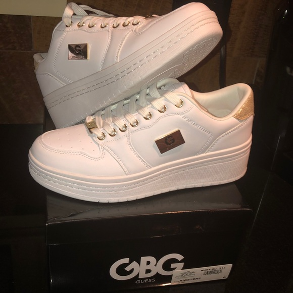 New Guess White Wedge Sneakers